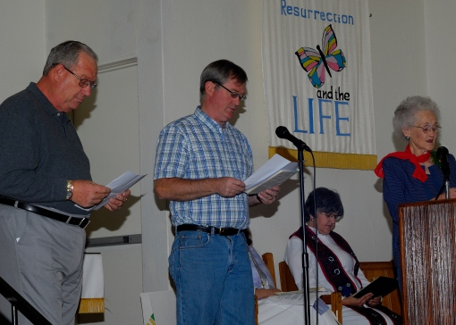 Patrick, Eric, and Phyllis read 1 Corinthians 13